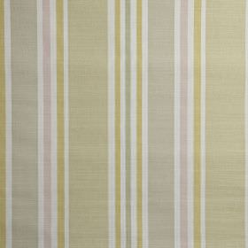 Calder - Blossom - Pale shades of gold, grey, beige, pink and white making up a vertical stripe pattern on fabric made from 100% cotton