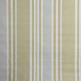 Calder - Eau de nil - Fabric made from 100% cotton in white and pale shades of beige and blue, featuring a simple vertical stripe design