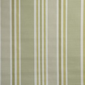 Calder - Willow - Shades of gold, khaki, grey and white making up a simple vertical stripe design on 100% cotton fabric