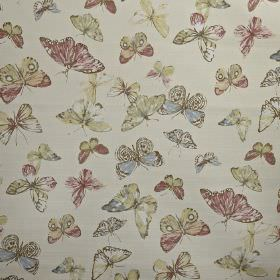 Briarfield - Blossom - Pastel pink, blue, green and cream coloured butterflies scattered over a pale grey 100% cotton fabric background