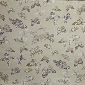 Briarfield - Hydrangea - Butterfly patterned 100% cotton fabric, scattered with realistic designs in white and light shades of grey and indi
