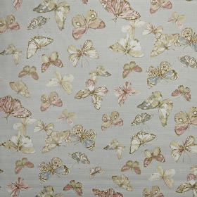 Briarfield - Eau de nil - Light blue 100% cotton fabric scattered with realistic butterfly designs in off-white, cream, light pink, grey and