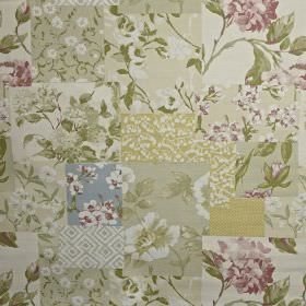 Whitewell - Blossom - Patchwork style 100% cotton fabric featuring squares with various floral patterns ingrey, gold, green and purple shad