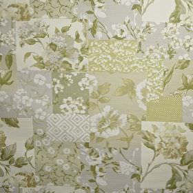 Whitewell - Willow - Squares of various different florals making up a patchwork style design in beige and grey shades on 100% cotton fabric