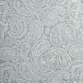 Langden - Porcelain - 100% cotton fabric featuring a pretty, delicate, white paisley pattern on a dove grey coloured background
