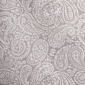 Langden - Hydrangea - Purple-grey coloured 100% cotton fabric printed with pretty, delicate paisley shapes in white