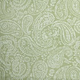 Langden - Willow - Fabric made from paisley patterned 100% cotton, with a pretty, delicate white design on a light green-grey background