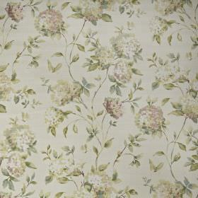 Abbeystead - Blossom - Realistic floral patterned fabric made from white 100% cotton, with a design in pastel shades of pink, green and crea