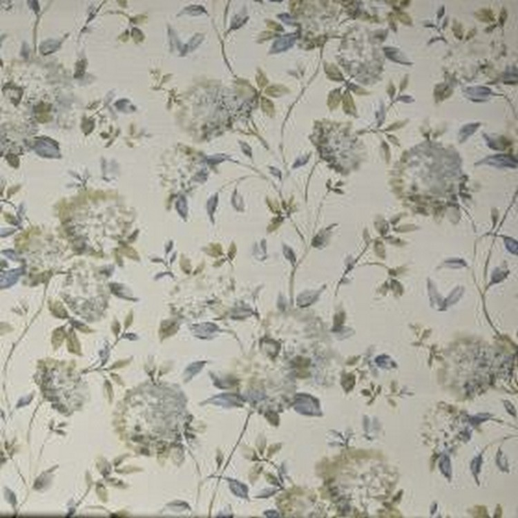 Abbeystead - Porcelain - Light shades of blue and grey making up a realistic floral pattern on very pale grey coloured 100% cotton fabric