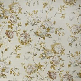 Abbeystead - Eau de nil - Fabric made from floral patterned 100% cotton, with a pale greyand gold-green coloured realistic design