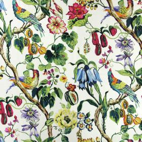 Madagascar - Rainforest - Linen fabric in white with bright pink flowers, orange fruit, green leaves and multicoloured exotic birds printed