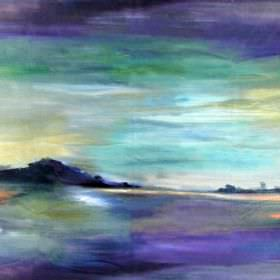 Lands End - Sunset - A dark grey, orange, green and white watercolour effect abstract design on fabric made from cotton