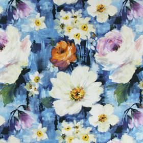 Provence - Mediterranean - Painted effect blue, orange, cream and yellow coloured floral print linen fabric