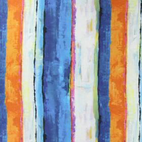 Tate - Mediterranean - Linen fabric which appears to have a painted uneven striped design in cream, orange, pink and different shades of blu