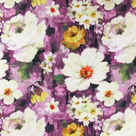 Provence - Cassis - Cream and yellow-gold coloured flowers and daffodils on a purple-pink linen fabric background which has a painted effect