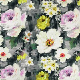 Provence - Mimosa - Linen fabric which appears to have cream and yellow flowers and daffodils and a grey background painted on