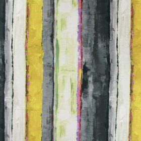 Tate - Mimosa - Pink, gold, white and different shades of grey as a rough, uneven striped pattern with a painted effect on linen fabric