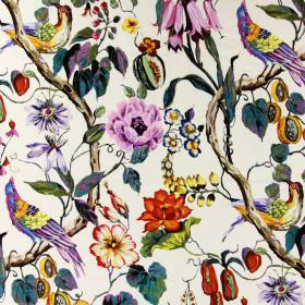 Mauritius - Tropical - White linen fabric with a bright, multicoloured design of exotic birds, large flowers, branches, fruit and leaves