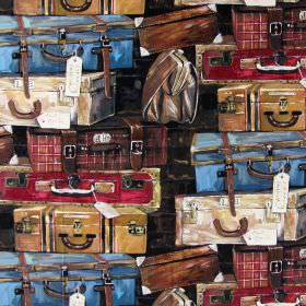 Concierge - Vintage - Suitcase print cotton fabric in bright red, amber and blue