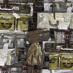 Concierge - Tan - A stack of brown, gold and grey coloured suitcases printed on cotton fabric