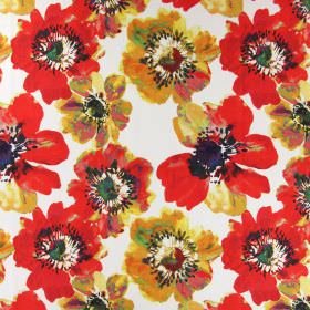 Java - Mango - A large print of bright red and yellow poppies on a white background made from linen fabric