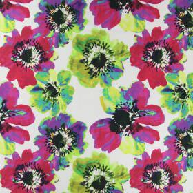 Java - Tropical - Pop art style bright pink, green and purple poppies printed on a white linen fabric background