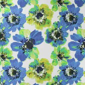 Java - Sapphire - White linen fabric printed with large poppies shaded in bright blue and green