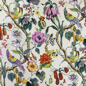 Madagascar - Tropical - Birds, flowers, fruit, leaves and branches on white linen fabric in purple, green, orange, red, pink, blue and yello