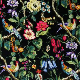 Mauritius - Paradise - Bright purple, pink, blue, yellow and green flowers, birds, fruit, leaves and branches printed on linen fabric in bla