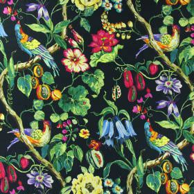 Madagascar - Paradise - Black linen fabric with a design of multicoloured exotic birds, bright pink flowers, green leaves and orange fruit