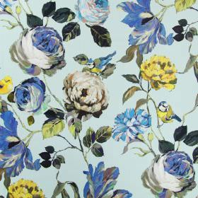 Country Garden - Porcelain - Flowers in shades of blue and cream, alongside deep green leaves and blue tits on a linen fabric background in