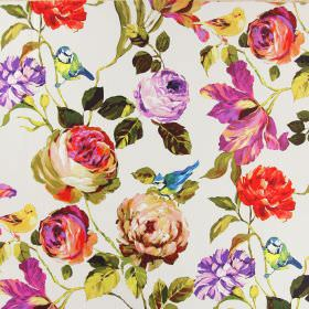 Country Garden - Summer - Blue tits, flowers and leaves printed on white linen fabric in ranges of colours such as purple, blue, green, pink and