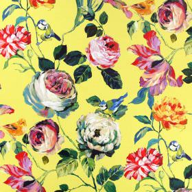Country Garden - Mimosa - Bright yellow linen fabric with a large, multicoloured floral pattern, rich green leaves and small garden birds