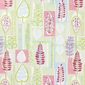 Cascade - Sage - Fabric with modern leaf pattern in sage green