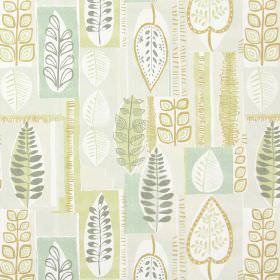 Cascade - Fennel - Fabric with modern leaf pattern in fennel green