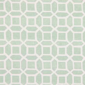 Bromley - Fennel - Fennel green fabric with modern design of geometric bodies