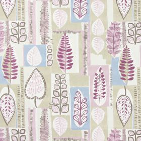 Cascade - Dusky Rose - Fabric with modern leaf pattern in dusky rose