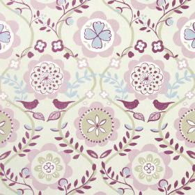 Bloomsbury - Dusky Rose - Modern abstract dusky rose floral pattern with vines on white fabric