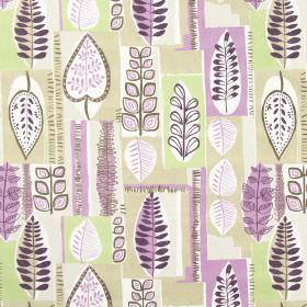 Cascade - Mulberry - Fabric with modern leaf pattern in mulberry purple