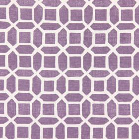 Bromley - Mulberry - Mulberry purple fabric with modern design of geometric bodies