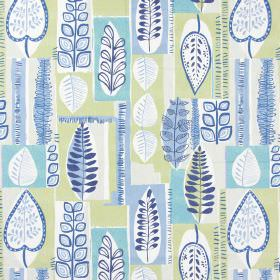 Cascade - Vintage Blue - Fabric with modern leaf pattern in vintage blue