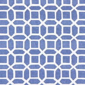 Bromley - Vintage Blue - Vintage blue fabric with modern design of geometric bodies