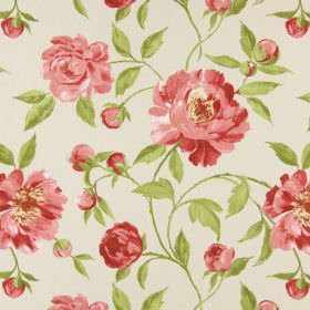 Tea Garden - Rosebud - Cotton fabric in an off-white colour, printed with a floral pattern of pink flowers and green leaves