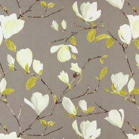 Sayuri - Moleskin - Realistic brown branches and light green leaves with cream flowers which seem to have been painted on grey cotton fabric