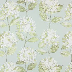 Mimosa - Celadon - Simple, large, white and beige flowers printed with pale green leaves on cotton fabric in an even paler shade of green