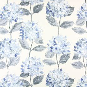 Mimosa - China Blue - Cream coloured cotton fabric printed with large flowers and leaves in shades of light blue and grey