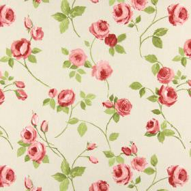 Rose Garden - Rosebud - A pattern of small pink roses with green leaves on a background of beige coloured fabric made from cotton