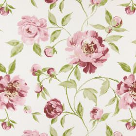 Tea Garden - Blush - Floral print cotton fabric in light shades of pink, green and cream