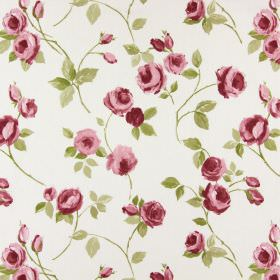 Rose Garden - Blush - Small dusky pink and purple roses and buds with green leaves scattered over cotton fabric in a very pale shade of grey