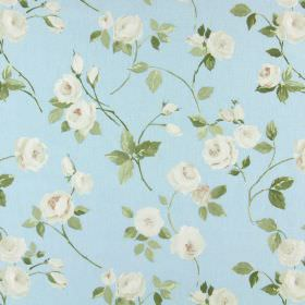 Rose Garden - Powder Blue - Cotton fabric with cream roses and green leaves on a light blue background